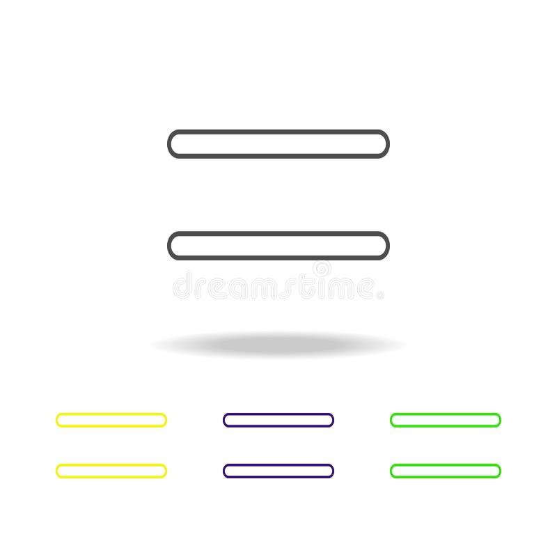 równego znaka stubarwne ikony Cienka kreskowa ikona dla strona internetowa projekta i app rozwoju Premia barwił sieci ikonę z cie royalty ilustracja