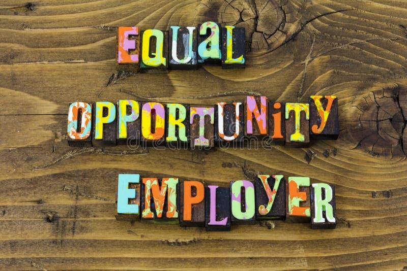 Równej możliwości pracodawcy równości różnorodności typografii biznesowy druk royalty ilustracja
