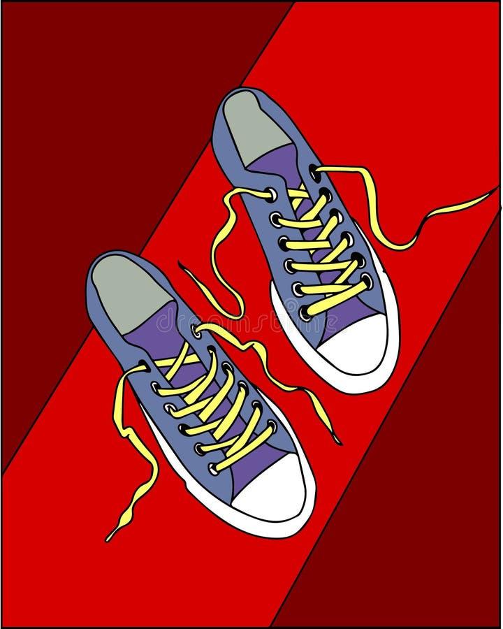 również zwrócić corel ilustracji wektora błękitni sneakers na czerwonym tle ilustracja wektor