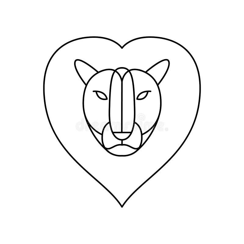 również zwrócić corel ilustracji wektora czerń wykłada głowa lew ilustracja wektor