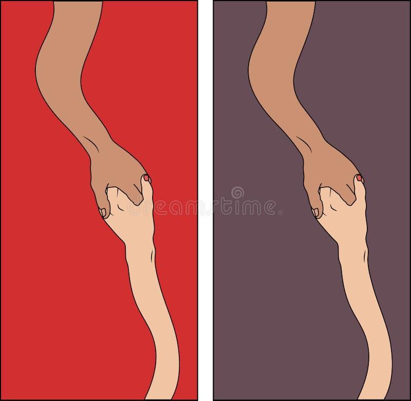również zwrócić corel ilustracji wektora dwa ręki dosięga each inny na czerwonym i fiołkowym tle fotografia royalty free
