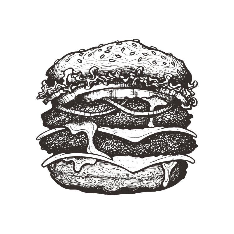 również zwrócić corel ilustracji wektora Dwoisty cheeseburger z serem, pomidorem, cebulą i sałatą, Duży wołowina hamburger z warz ilustracji
