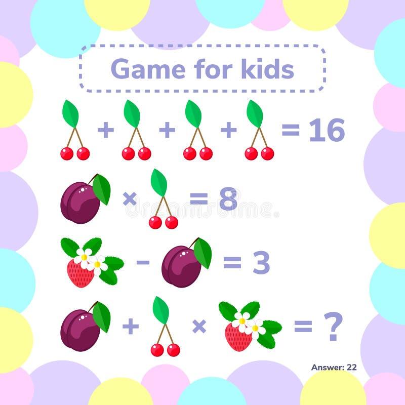 również zwrócić corel ilustracji wektora Edukacyjny matematycznie gra Logiki zadanie ilustracji