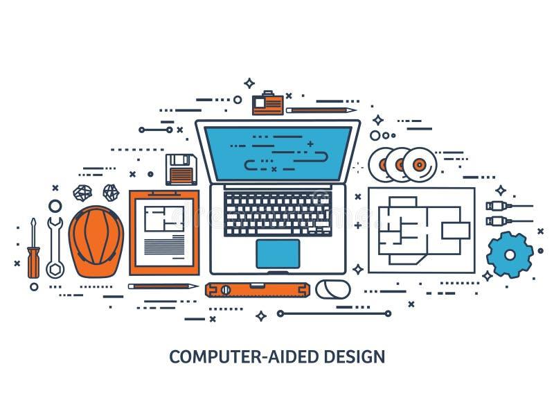 również zwrócić corel ilustracji wektora Inżynieria i architektura Rysować, budowa Architektoniczny projekt Projekt, kreśli royalty ilustracja