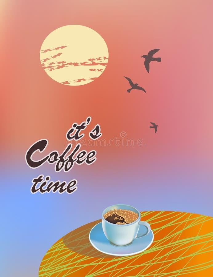 również zwrócić corel ilustracji wektora Kawa na stole w lecie Ja ` s czas pić kawę ilustracja wektor