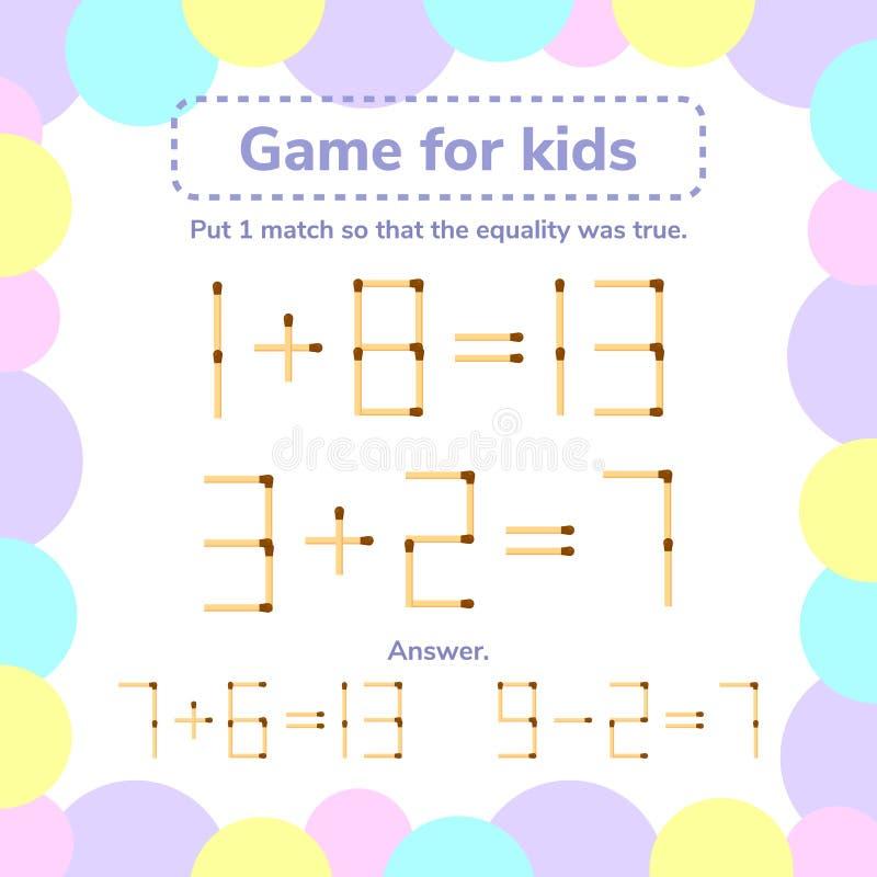 również zwrócić corel ilustracji wektora matematyki gra dla dzieciaków Stawia 1 matchstick tha w ten sposób ilustracji