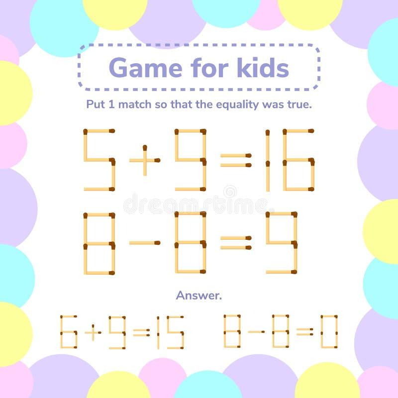 również zwrócić corel ilustracji wektora matematyki gra dla dzieciaków Stawia 1 matchstick tha w ten sposób ilustracja wektor