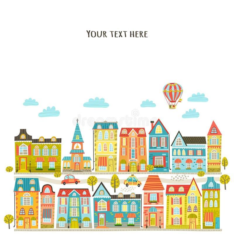również zwrócić corel ilustracji wektora Miasto, domy i samochody, royalty ilustracja