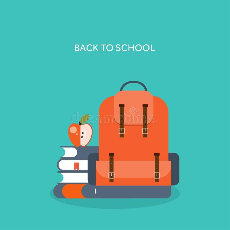 również zwrócić corel ilustracji wektora Mieszkanie szkolny plecak Nauki torba royalty ilustracja