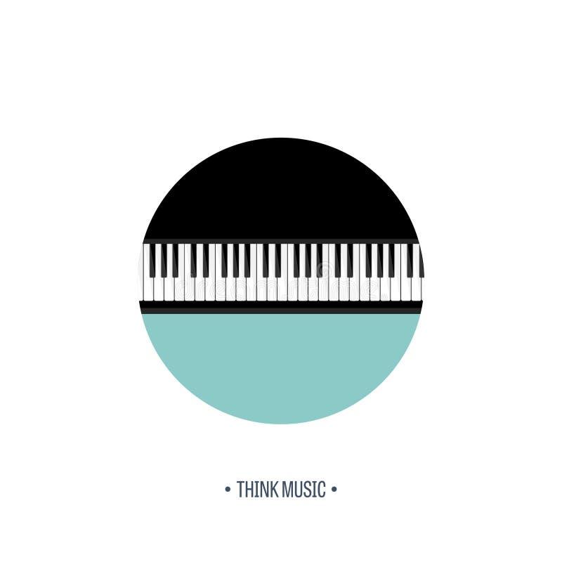 również zwrócić corel ilustracji wektora Muzykalny płaski tło Pianino klucz z klawiaturą melodia instrument royalty ilustracja
