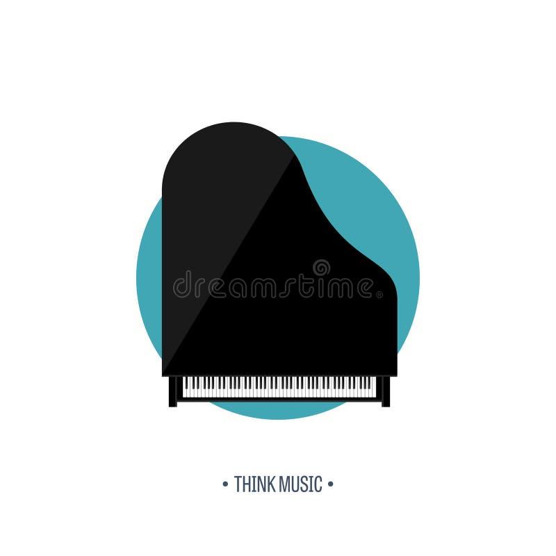 również zwrócić corel ilustracji wektora Muzykalny płaski tło Pianino klucz z klawiaturą melodia instrument ilustracji