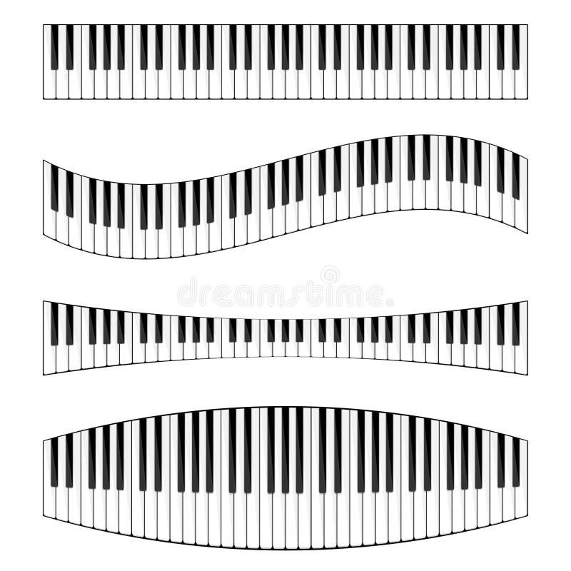 również zwrócić corel ilustracji wektora Muzykalny płaski tło z pianino klucza klawiaturą melodia instrument royalty ilustracja