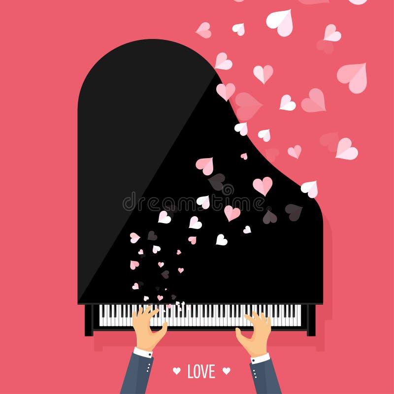 również zwrócić corel ilustracji wektora Muzykalny płaski tło z sercami Miłość Pianino kluczowa klawiatura melodia instrument ilustracji