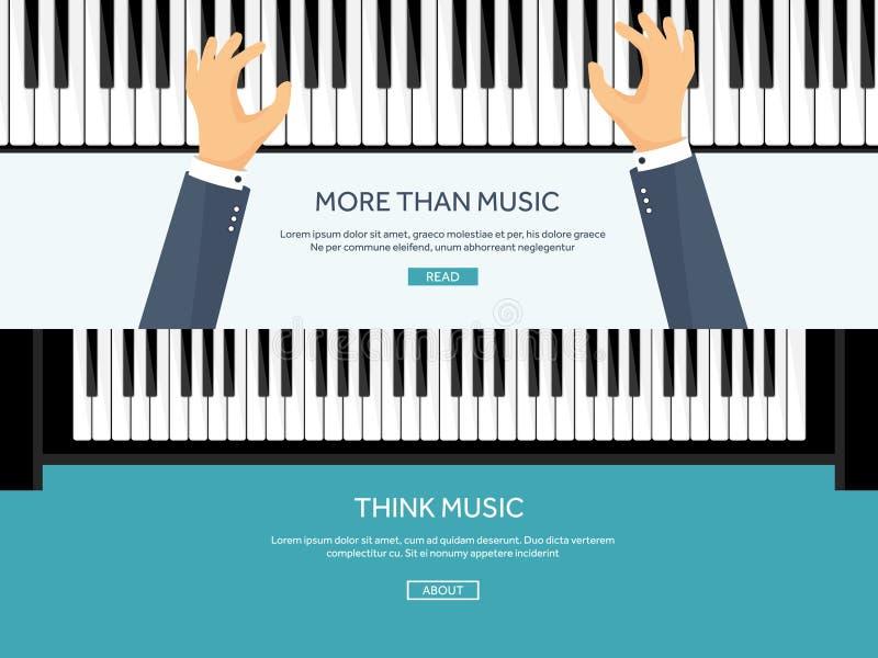również zwrócić corel ilustracji wektora Muzykalny płaski tło z sercami Miłość Pianino kluczowa klawiatura melodia instrument ilustracja wektor