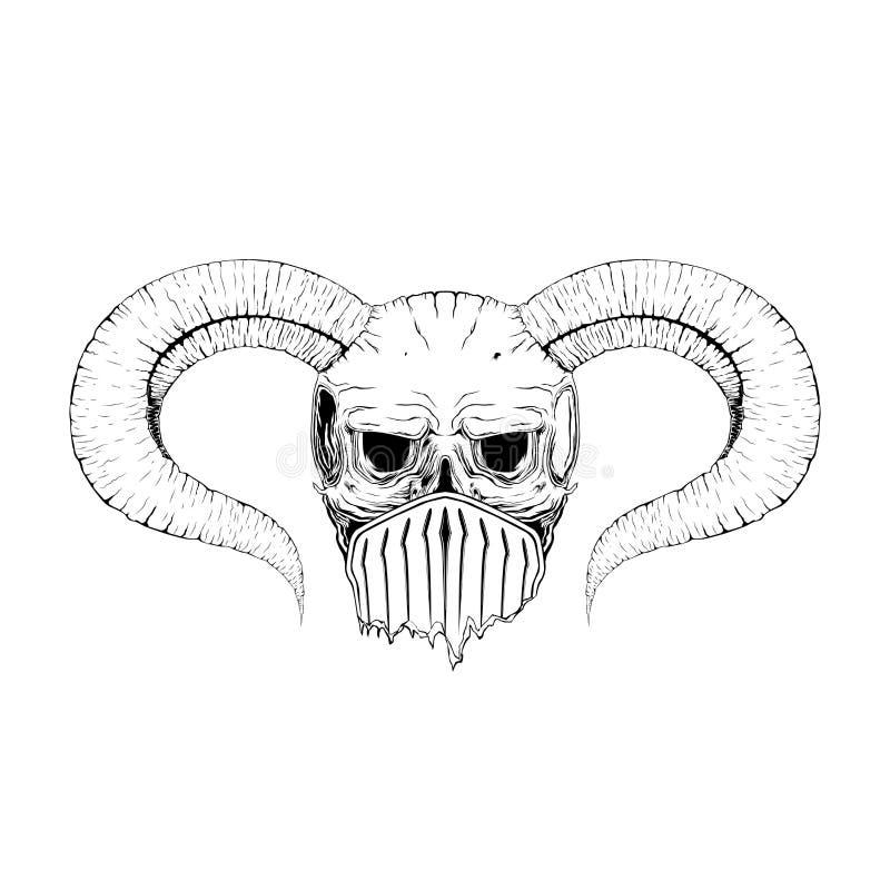 również zwrócić corel ilustracji wektora oczy, rogi, czaszka, mistycyzm, tatuaż Ręka royalty ilustracja