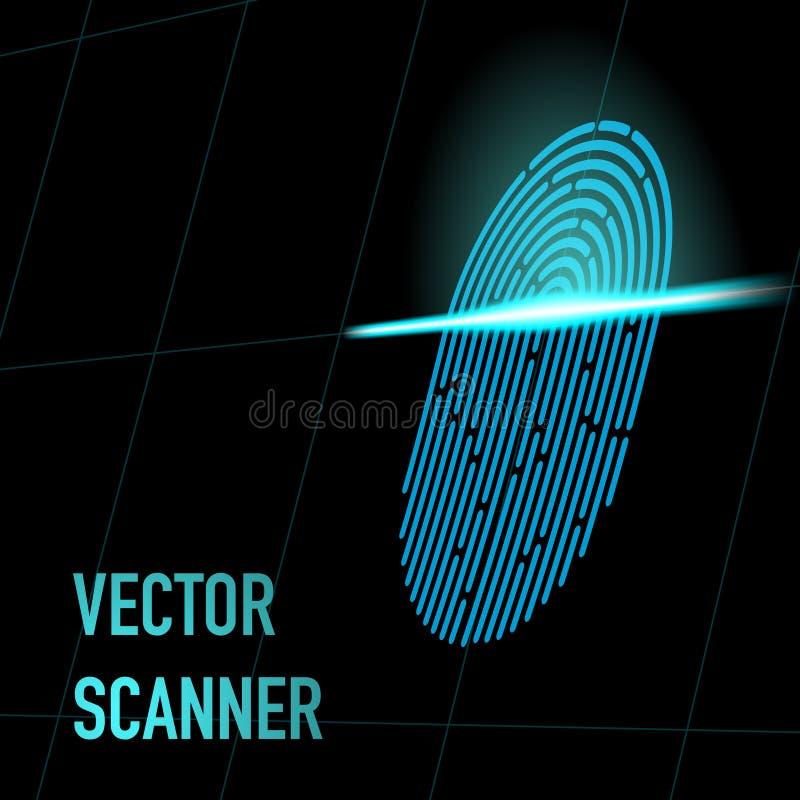również zwrócić corel ilustracji wektora Odcisku palca przeszukiwacz, błękitny kolor, 3d perspektywa z siatką Hacker, ochrona, da obraz stock
