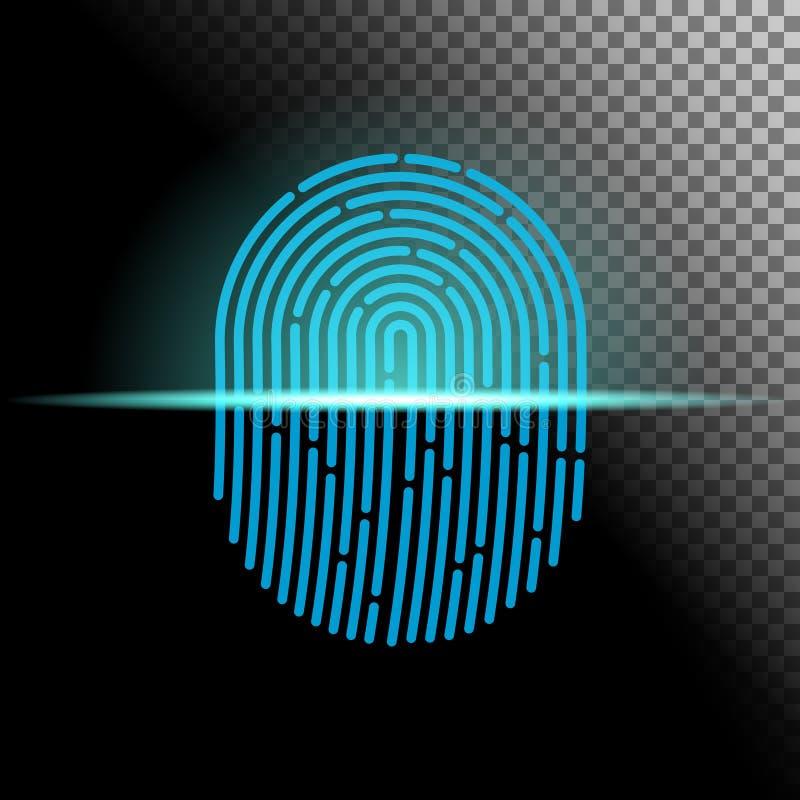 również zwrócić corel ilustracji wektora Odcisku palca przeszukiwacza przejrzysty szyldowy błękitny kolor projektujący dla twój a zdjęcia royalty free