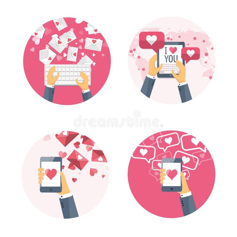 również zwrócić corel ilustracji wektora Płaski tło z klawiaturową ręką, smartphone, pastylka dekoracyjnych serc ilustracyjna mił royalty ilustracja