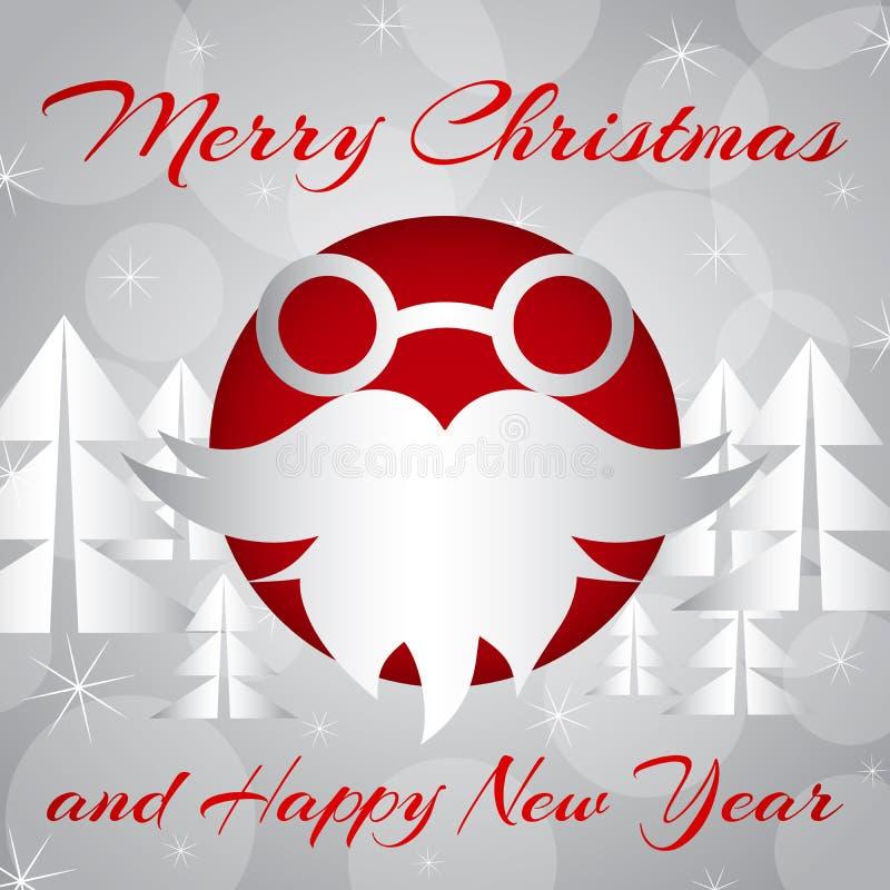 również zwrócić corel ilustracji wektora Santa ` s broda na nowego roku ` s tle i szkła royalty ilustracja