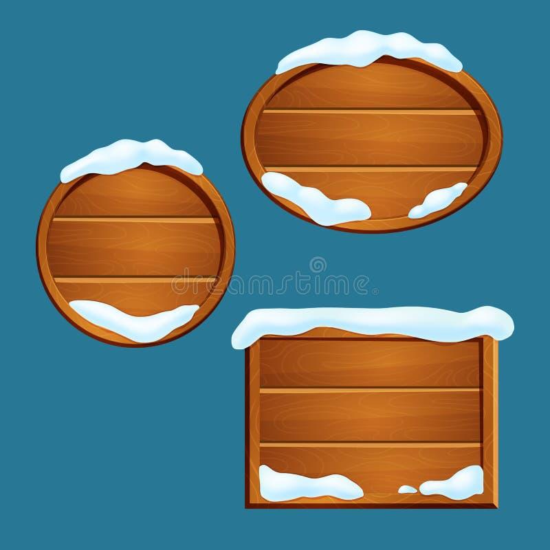również zwrócić corel ilustracji wektora Set śnieg zakrywał drewnianych znaki z ramami odizolowywać na błękitnym tle ilustracji