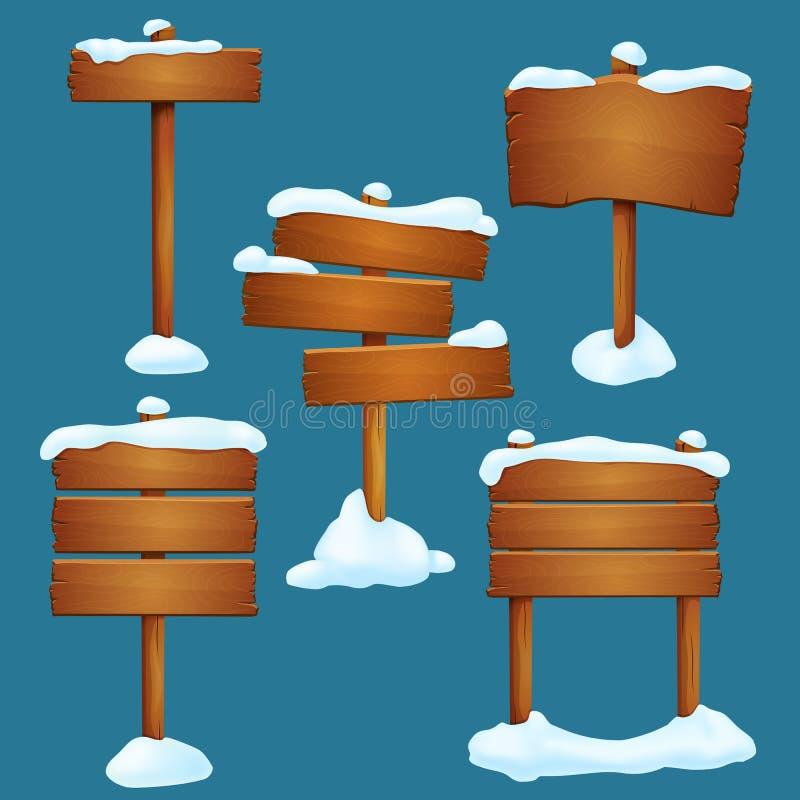 również zwrócić corel ilustracji wektora Set śnieg zakrywał starych drewnianych kierunkowskazy z inaczej ustawionymi deskami odiz ilustracji