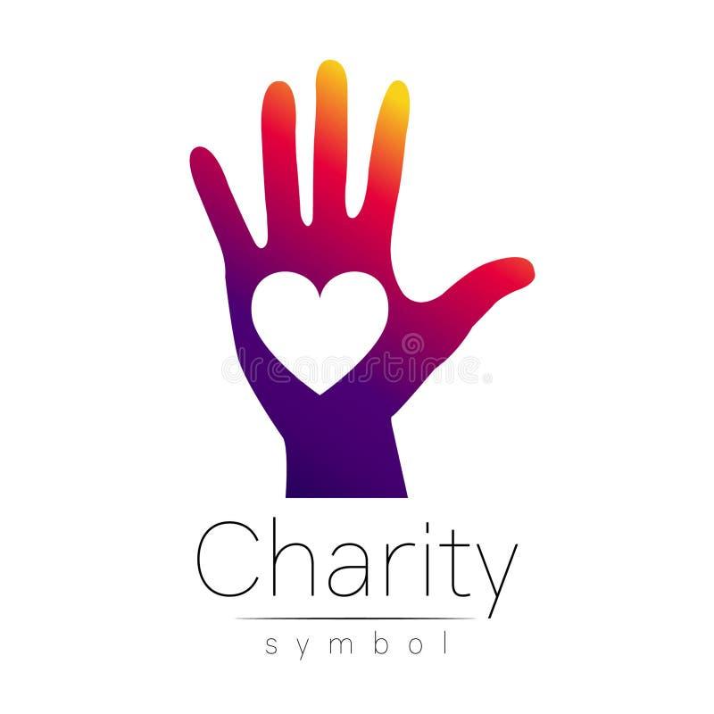 również zwrócić corel ilustracji wektora Symbol dobroczynność Szyldowy ręki serce odizolowywający na białym tle Fiołkowa ikony fi ilustracji
