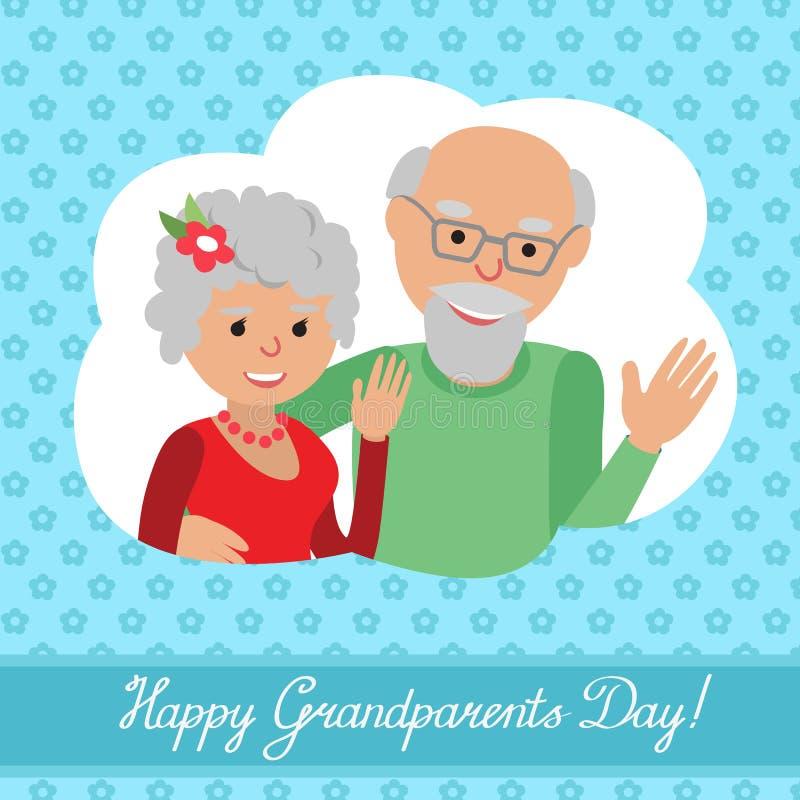 również zwrócić corel ilustracji wektora Szczęśliwy dziadka dzień Para w chmurze ilustracja wektor