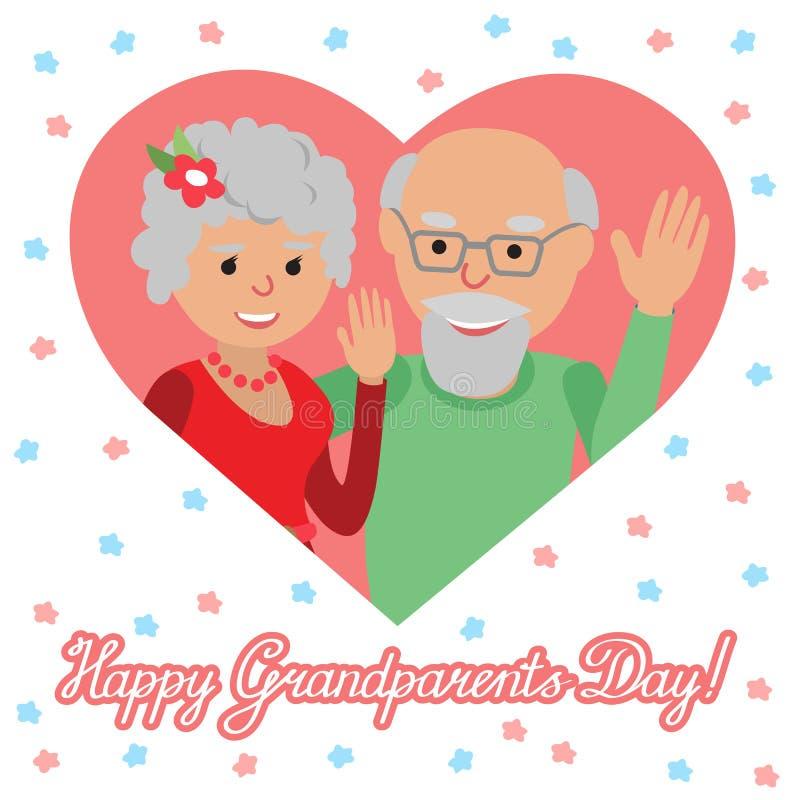 również zwrócić corel ilustracji wektora Szczęśliwy dziadka dzień Para w sercu royalty ilustracja