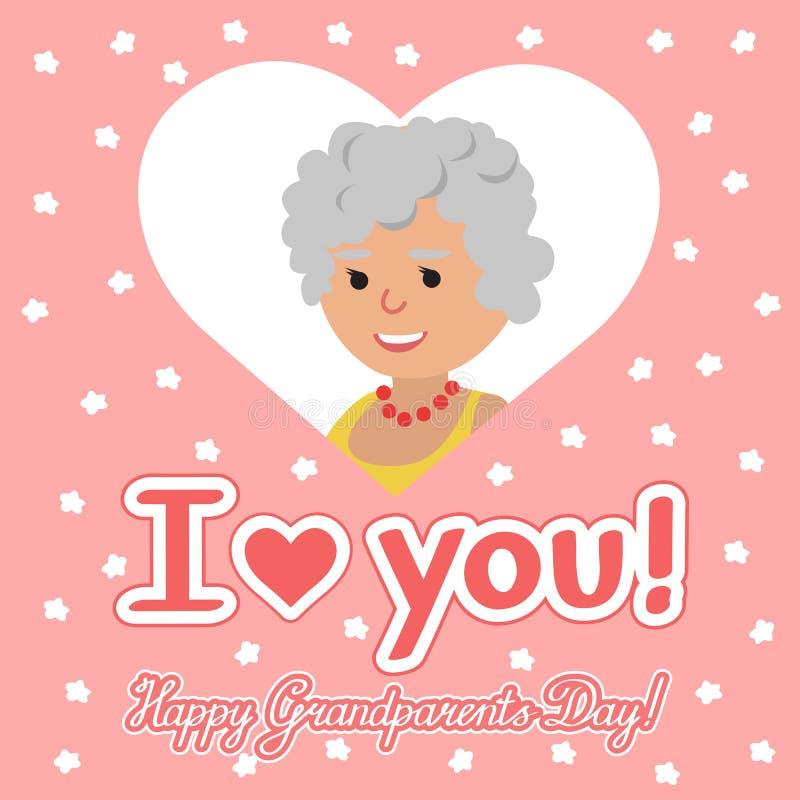 również zwrócić corel ilustracji wektora Szczęśliwy dziadka dzień Starsza kobieta w sercu z literowaniem ilustracji