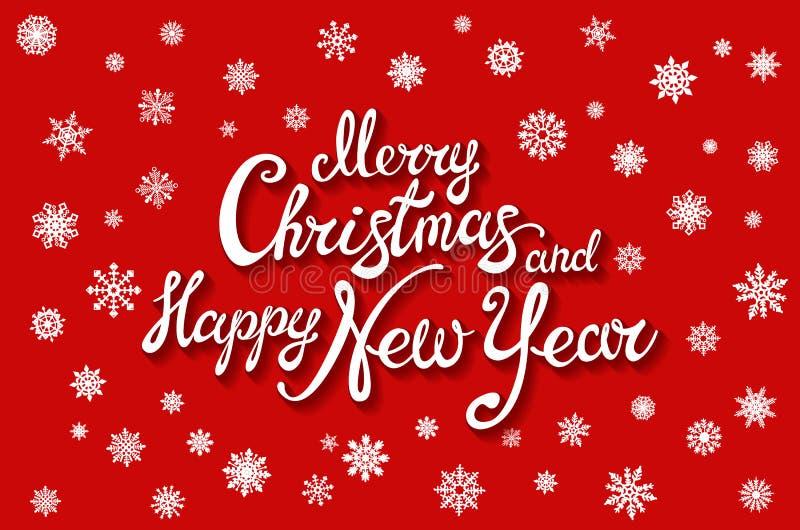 również zwrócić corel ilustracji wektora Wesoło boże narodzenia i Szczęśliwy nowy rok Ręcznie pisany elegancki nowożytny szczotka ilustracja wektor