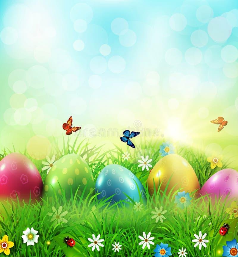 również zwrócić corel ilustracji wektora Wielkanocny kartka z pozdrowieniami z kolorowym jajka lyi