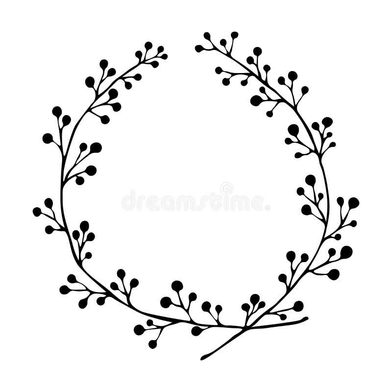 również zwrócić corel ilustracji wektora Wręcza patroszonego kwiecistego wianek odizolowywającego na białym tle royalty ilustracja
