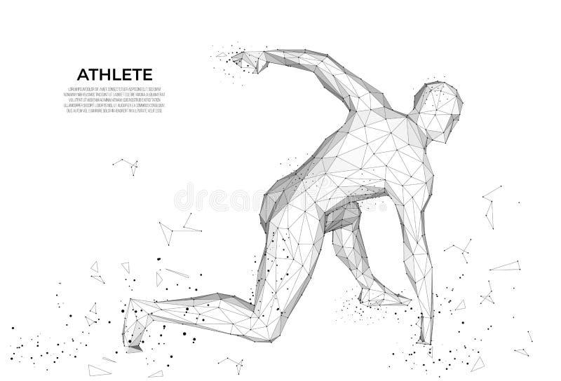 Równik z małym polem Sportowiec, biegacz z trójkątów, koncept sportowy o niskim poli anatomia człowieka obraz futurystyczny ilustracja wektor