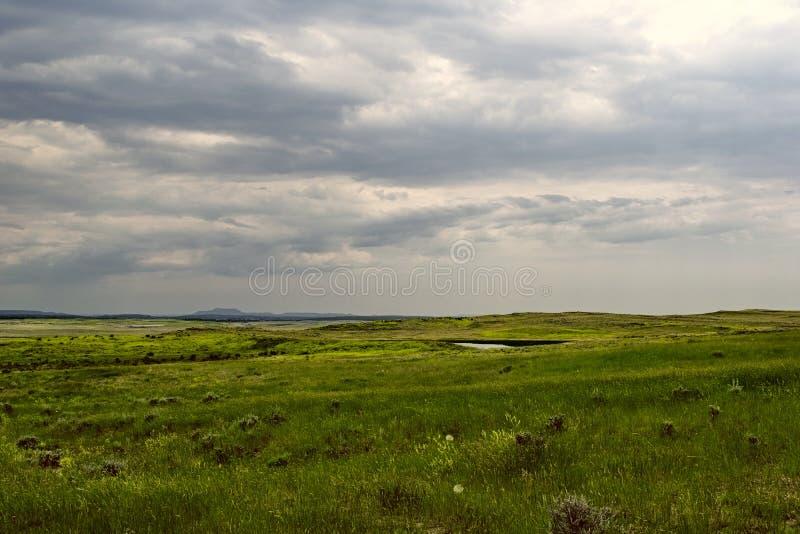 Równiny Wyoming pod burzowym niebem fotografia royalty free