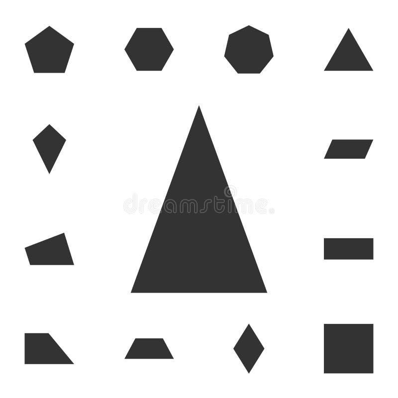 Równoramiennego trójboka ikona Szczegółowy set geometryczna postać Premia graficzny projekt Jeden inkasowe ikony dla stron intern ilustracji