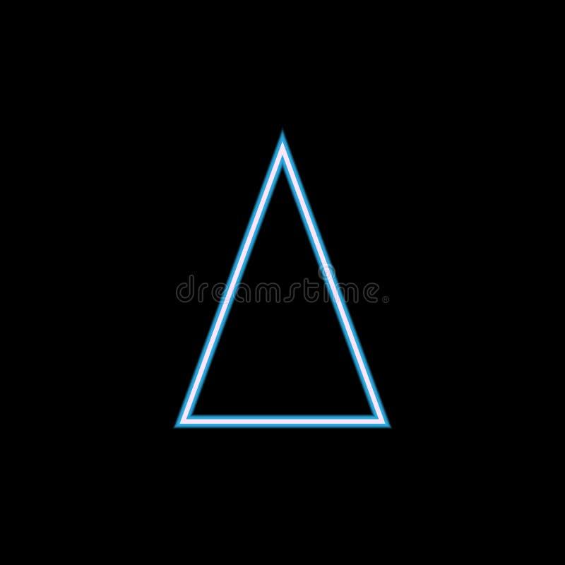 równoramiennego trójboka ikona w neonowym stylu Jeden geometrycznej postaci inkasowa ikona może używać dla UI, UX royalty ilustracja