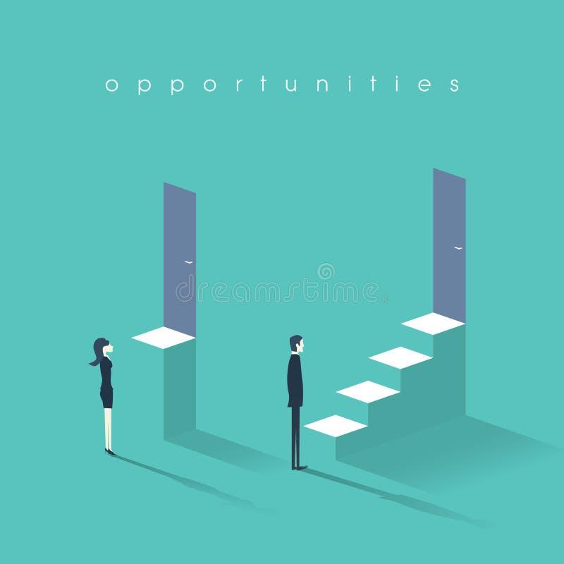 Równouprawnienia płci pojęcie z mężczyzna versus kobieta symbol Biznesmen vs bizneswoman nierówność w karierze i profesjonaliście