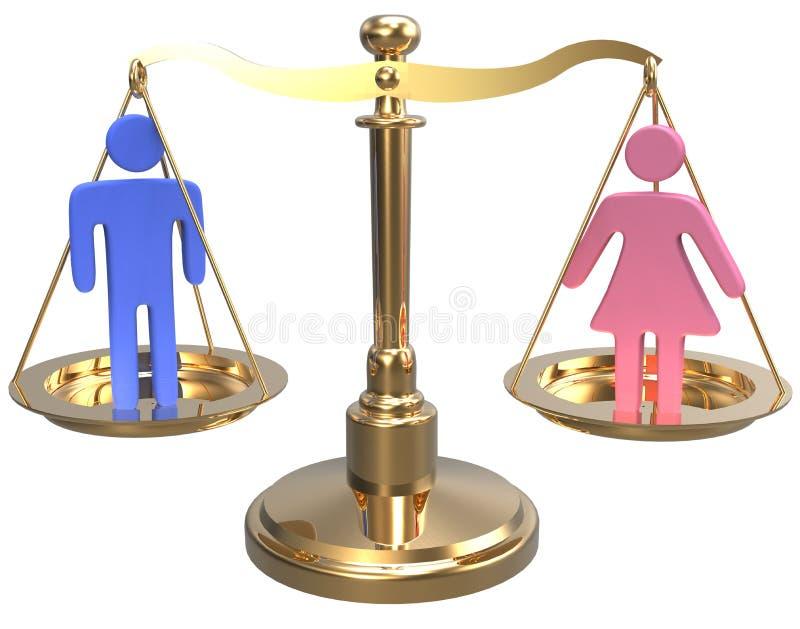 Równouprawnienie płci płci sprawiedliwość 3D waży ilustracja wektor