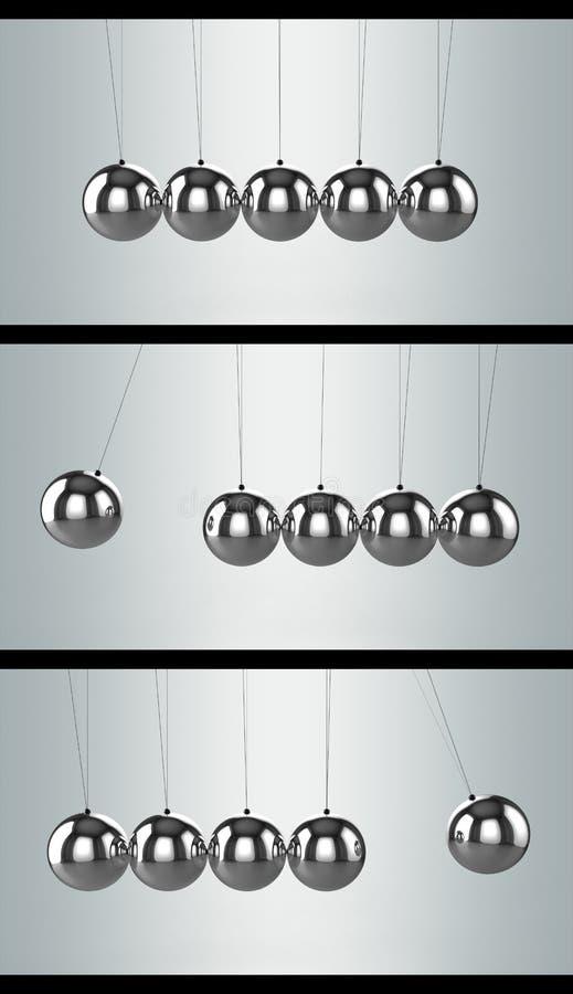 równoważenia piłek kołysankowy newton ustawia s trzy ilustracja wektor