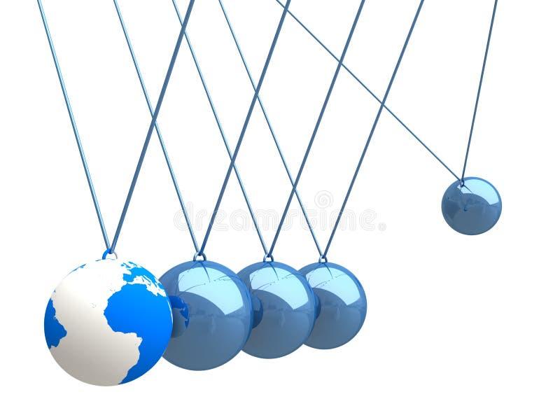 równoważenia piłek kołyski mapy newtonu s świat royalty ilustracja