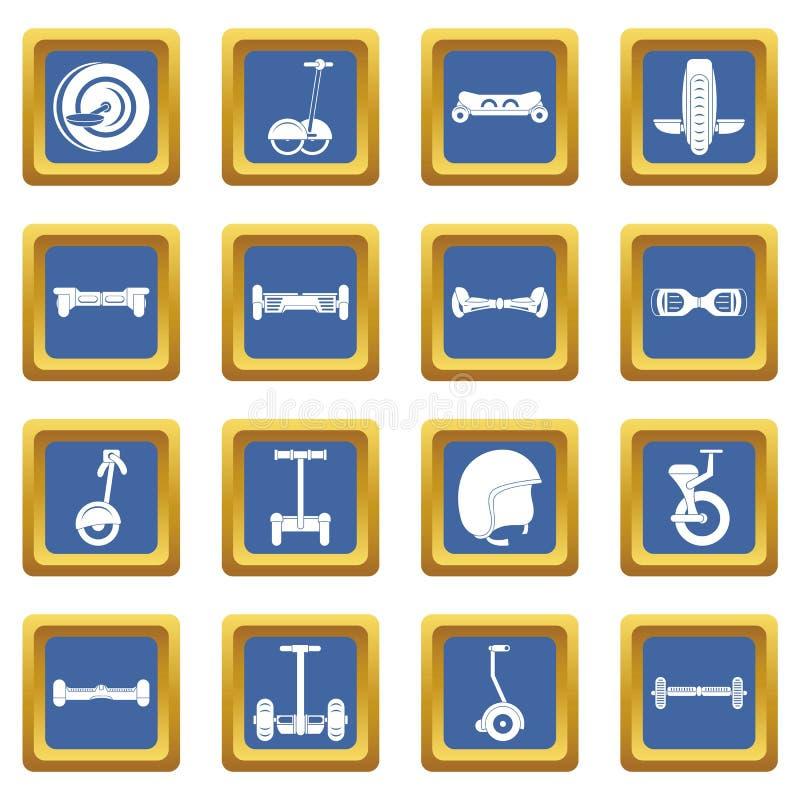 Równoważenie hulajnoga ikony ustawiają błękit ilustracja wektor