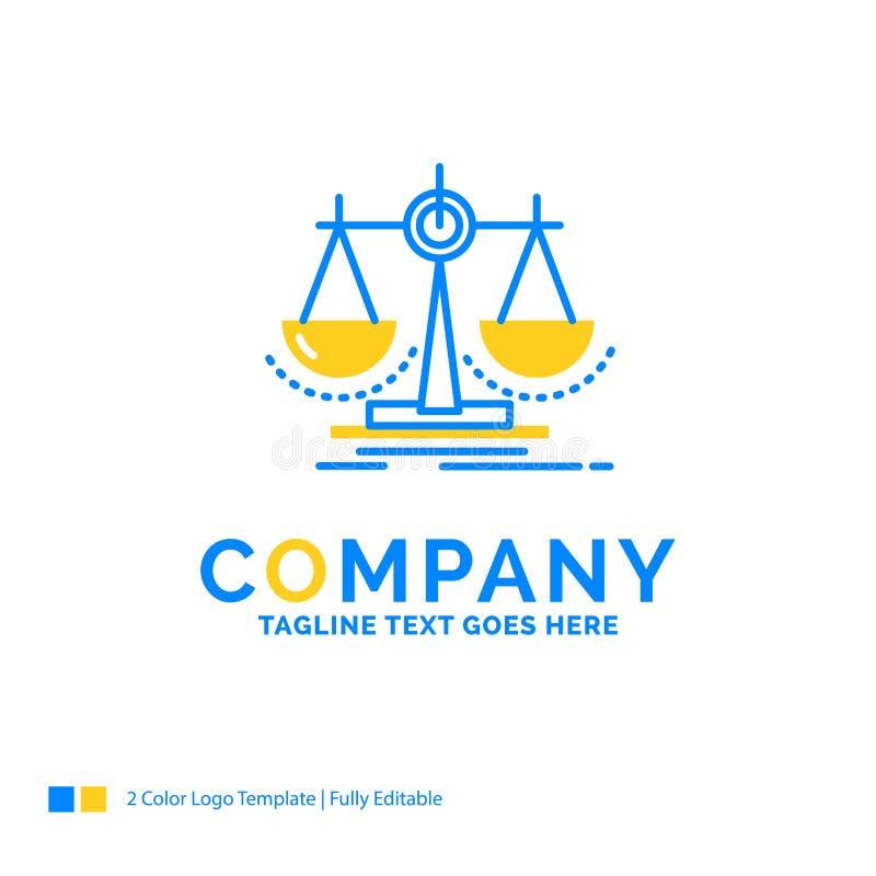 Równowaga, decyzja, sprawiedliwość, prawo, szalkowy Błękitny Żółty Biznesowy logo ilustracja wektor