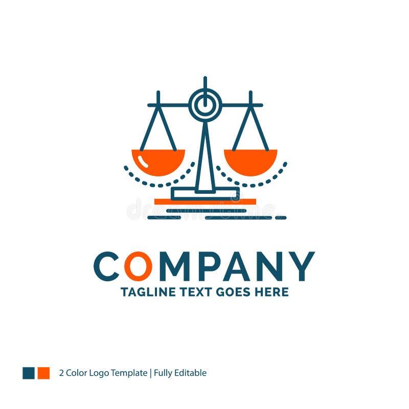 Równowaga, decyzja, sprawiedliwość, prawo, szalkowy logo projekt Błękit i Ora ilustracji