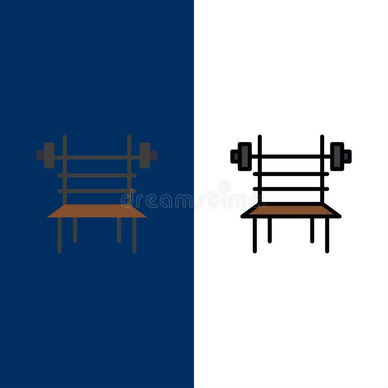 Równowaga, Dumbbell, sprawność fizyczna, Gym, Maszynowe ikony Mieszkanie i linia Wypełniający ikony Ustalony Wektorowy Błękitny t ilustracja wektor