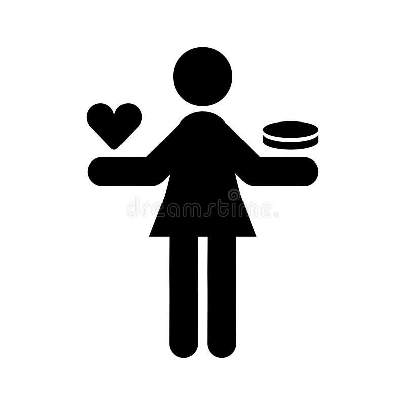 Równowaga miłości i pieniądze ikona ilustracja wektor