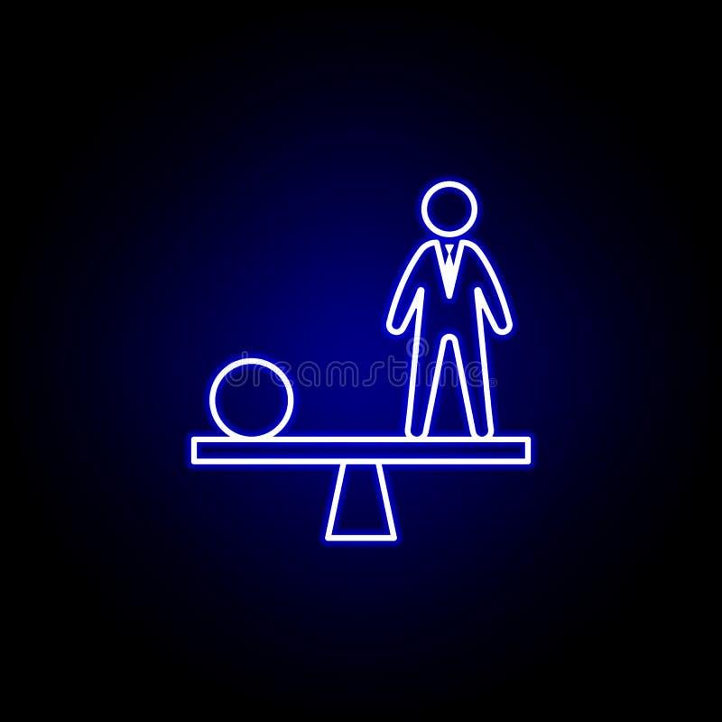 Równowaga, pracownik, pracownik ikona Elementy dzia? zasob?w ludzkich ilustracyjni w neonowej stylowej ikonie Znaki i symbole mog royalty ilustracja