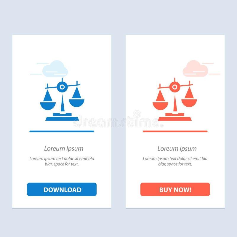 Równowaga, sąd, sędzia, sprawiedliwość, prawo, Legalny, skala, skale Błękitne i Czerwonej sieci Widget karty szablon, ilustracja wektor