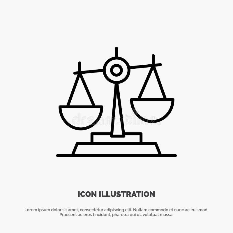Równowaga, sąd, sędzia, sprawiedliwość, prawo, Legalny, skala, skale Wykłada ikona wektor royalty ilustracja