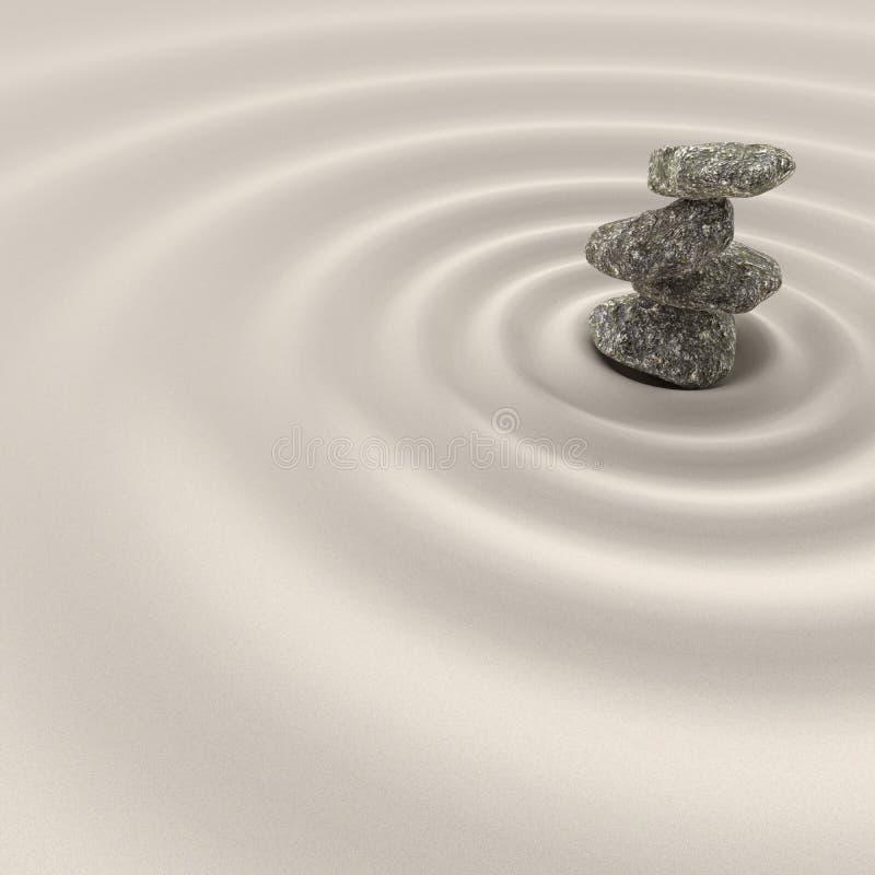 Równowaga w zen medytacji ogródu relaksie i prostota dla koncentracji, 3d rendering ilustracja wektor