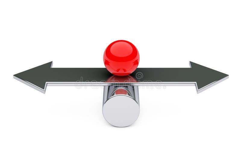 Równowagi, Choise i harmonii pojęcie, Czerwona metal piłka nad strzała ilustracji